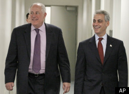 Illinois Gov. Pat Quinn, left, and Chicago Mayor Rahm Emanuel.