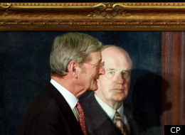 Senator Michael Meighen walks past the portrait of of his grandfather the Right Honourable Arthur Meighen the ninth prime minister of Canada during an unveiling ceremony of the portrait on Parliament Hill, in Ottawa Wednesday February 16, 2011. (THE CANADIAN PRESS/Fred Chartrand)