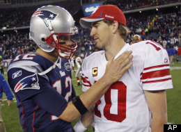 New York Giants' Eli Manning, right, is congratulated by New England Patriots' Tom Brady after the Giants' 24-20 win in an NFL football game in Foxborough, Mass., Sunday, Nov. 6, 2011. (AP Photo/Charles Krupa)