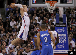 Los Angeles Clippers power forward Blake Griffin dunks against the Oklahoma City Thunder during the second half of an NBA basketball game in Los Angeles, Monday, Jan. 30, 2012. (AP Photo/Chris Carlson)