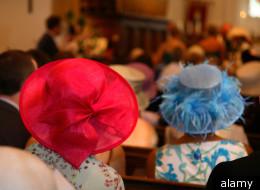 Women attend a church service.