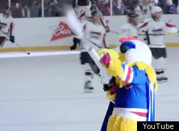 This Budweiser ad features hockey AND a chicken suit. What more do you want?