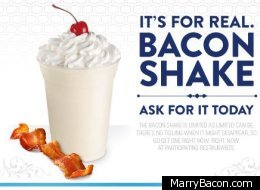 Jack In The Box, a major fast food chain, has just introduced a bacon shake that includes vanilla ice cream, whipped cream, a maraschino cherry and