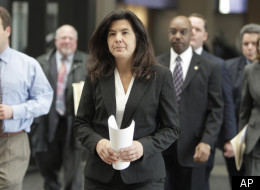 Cook County State's Attorney Anita Alvarez, center, arrives at a press conference at Cook County Circut Court in Chicago, Wednesday, Dec. 3, 2008