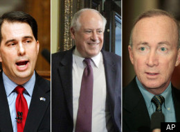 Wisconsin Governor Scott Walker (left) and Indiana Governor Mitch Daniels (far right) have criticized Illinois Governor Pat Quinn (center) for Illinois' economic situation. But a new state index shows that the Illinois economy could outperform Indiana and Wisconsin's in the next six months.