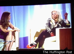 Lady Gaga, right, spoke with Maria Shriver at a young women's conference at Brentwood School in Los Angeles on Saturday.