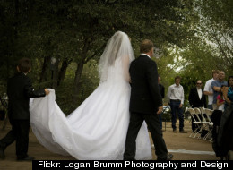 The bride marches down the aisle.