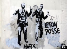 David Cameron And Boris Johnson As 'Eton Posse' On Banksy Wall