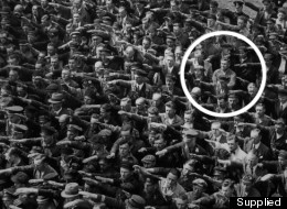 The now iconic image shows August Landmesser refusing to deliver a Nazi salute in 1936