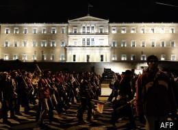 Marche de protestation devant le Parlement grec