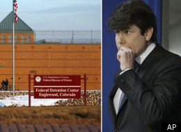 Former Illinois Gov. Rod Blagojevich (right) and the low-level security prison in Englewood, Colorado where he will serve his 14-year sentence.