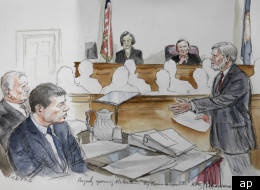 George Huguely, second from left in this sketch, is on trial for allegedly killing Yeardley Love.