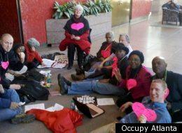 The scene from Occupy Atlanta's sit-in.