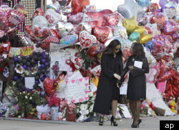 A memorial outside the Newark church where Whitney Houston's funeral is being held