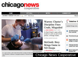 The Chicago News Cooperative's website's front page, as of Feb. 18.