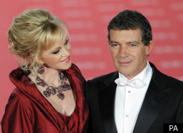 Antonio Banderas is supported by his wife Melanie Griffith at this year's Goya Awards