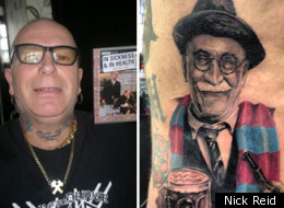 Tattoo artist Nick Reid, David Morby, and the Alf Garnett tattoo