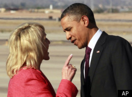 The image of Arizona Governor Jan Brewer wagging her finger at Obama adorned a t-shirt at the Maricopa County GOP luncheon earlier this week.
