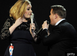 Adele and James Corden at The Brits 2012