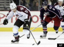 Colorado Avalanche's David Jones skates, left, upice in front of Columbus Blue Jackets' Colton Gillies in the first period of an NHL hockey game in Columbus, Ohio, Friday, Feb. 24, 2012. The Avalanche won 5-0. (AP Photo/Paul Vernon)