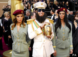 The Dictator has caused red carpet chaos at the 2012 Oscars