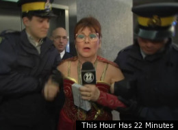 Marg Delahunty (Mary Walsh) gets arrested by RCMP officers on the orders of Bob Paulson on This Hour Has 22 Minutes. (This Hour Has 22 Minutes)