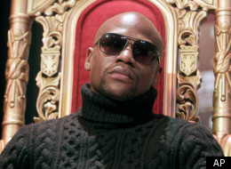 Boxer Floyd Mayweather participates in a news conference in New York, Tuesday, Feb. 28, 2012. Mayweather is scheduled to fight Miguel Cotto May 5 in Las Vegas. (AP Photo/Seth Wenig) (AP Photo/Seth Wenig)