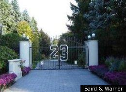 The gate to Michael Jordan's Highland Park estate.