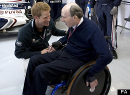 Sir Frank Williams speaks to Prince Harry at the British Grand Prix