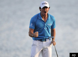 Rory McIlroy, of Northern Ireland, reacts after winning the Honda Classic golf tournament in Palm Beach Gardens, Fla., Sunday, March 4, 2012. McIlroy became the top-ranked golfer in the world. (AP Photo/Lynne Sladky)