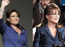 Sarah Palin (L) is portrayed by Julianne Moore (R) in
