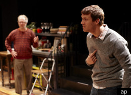 In this theater image released by The O and M Co., Susan Pourfar, left, and Russell Harvard are shown in a scene from the play