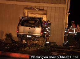A woman fell asleep and crashed through an Oregon apartment, pinning a man in his bed, cops said.