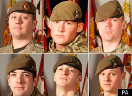 From left to right (top then bottom): Sergeant Nigel Coupe, Corporal Jake Hartley, Private Anthony Frampton, Private Daniel Wilford, Private Daniel Wade and Private Christopher Kershaw