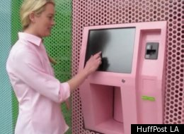 Lucy Blodgett, HuffPost LA's Assistant Editor, demonstrates how to use Beverly Hills' Cupcake ATM.