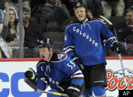 Colorado Avalanche left wing Cody McLeod (55) celebrates a goal with teammate Ryan Wilson (44) during the second period of an NHL hockey game against the Edmonton Oilers on Saturday, March 10, 2012, in Denver. (AP Photo/ Jack Dempsey)