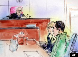 In this sketch, Algerian Ahmed Ressam, seated next to Federal Public Defender JoAnn Oliver, listens as U.S. District Judge John Coughenour presides at the court session in which Ressam was convicted on several charges of terrorism Friday, April 6, 2001, at the Roybal federal building in downtown Los Angeles. Ressam was found guilty of nine federal charges, including an act of terrorism transcending a national boundary, for bringing a car loaded with explosives into the United States in what auth
