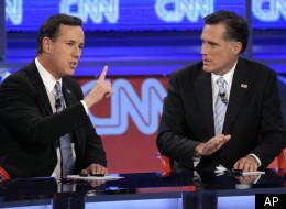 Former Pennsylvania Sen. Rick Santorum (left) and former Massachusetts Gov. Mitt Romney at a Republican presidential debate on Wednesday, Feb. 22, 2012, in Mesa, Ariz. (AP Photo/Ross D. Franklin)