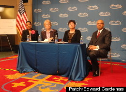 Karen Ridgeway, superintendent of academics for Detroit Public Schools, left, Nancy Schlichting, CEO, Henry Ford Health System, center left, First Lady Sue Snyder, center right, and Thomas Bello, managing partner, New York Life, at the press conference Monday morning. Credit Edward Cardenas