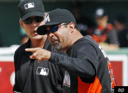 Marlins manager Ozzie Guillen was ejected in a spring training game against the Red Sox.