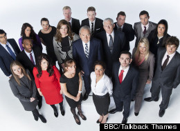 Lord Sugar, Karren Brady and Nick Hewer with the new crop of candidates for The Apprentice 2012