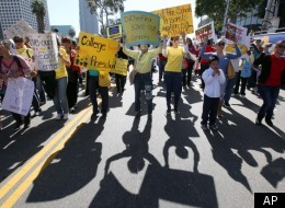 Los Angeles Unified School District employees and supporters gather to protest deep program cuts as the school board sought ways to close a $390 million budget gap Tuesday March 13. 2012, in Los Angeles.  (AP Photo/Nick Ut)