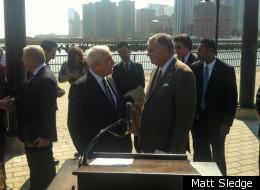 US Senator Frank Lautenberg, on left, speaks to Transportation Secretary Ray LaHood.