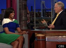 Michelle Obama jokes around with David Letterman on