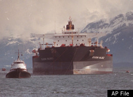In this June 23, 1989 photo, the Exxon Valdez oil tanker is towed out of Prince William Sound in Alaska by a tug boat and a U.S. Coast Guard Cutter. The Exxon Valdez was sold for $16 million.