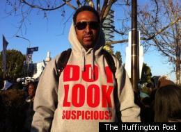Carson, Calif., resident Erik Ellis wears his custom-made hooded sweatshirt at Leimert Park on Thursday, March 22, 2012.