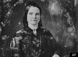 This is a photograph of an undated daguerreotype of first lady Mary Todd Lincoln. (AP Photo/Library of Congress)