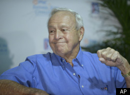 Arnold Palmer listens during a news conference announcing the return of the PNC Bank Father/Son Challenge golf tournament during the third round of the Arnold Palmer Invitational golf tournament at Bay Hill in Orlando, Fla., Saturday, March 24, 2012.(AP Photo/Phelan M. Ebenhack)