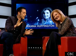 Arianna Huffington dropped by the George Stroumboulopoulos Tonight show on CBC Television during her recent visit to Toronto (CBC).