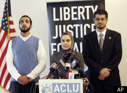 Council of American-Islamic Relations California, deputy executive director and staff attorney, Ameena Mirza Qazi, middle, takes questions on a lawsuit against the Federal Bureau of Investigation.